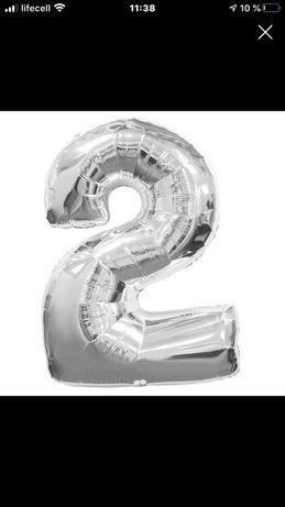 Цыфра ,цифра 2,двойка,шарик с фольги,шар серебро