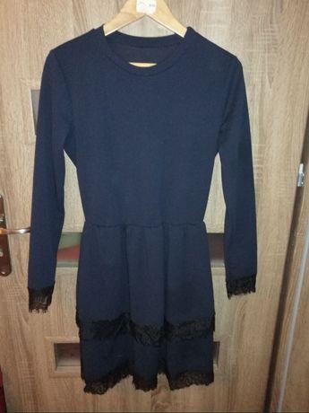Granatowa sukienka koronka Made in Italy rozmiar 36/38 stan idealny!