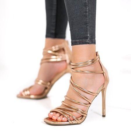 Złote sandały na szpilce rozmiar 37