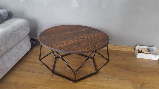 Stolik kawowy ława do salonu lite drewno 70cm loft