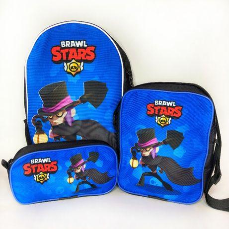 Подарунок хлопчику на 7-10 років- рюкзак, сумка та пенал з Бравл Старс