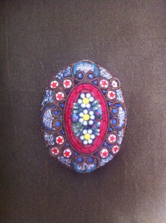 Alfinete de peito broche milefiori mosaico italiano antigo