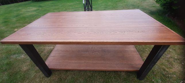 Solidny stół  konstrukcji stalowej z 2 dębowymi blatami