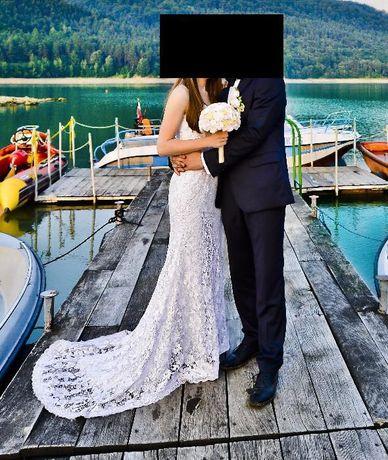 NAJTANIEJ !! Suknia Sukienka ślubna Koronka Tren Bolerko 34 36