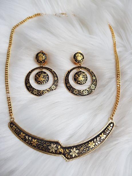 Komplet biżuterii Toledo Kolczyki klipsy + łańcuszek pozłacane Vintage