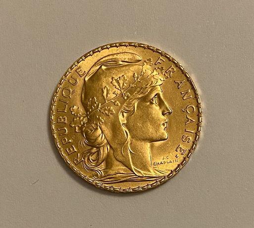 Moneta złota 20 franków francuskich 1913