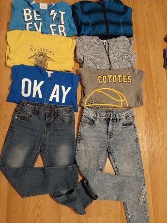 Bluzy i spodnie 128 i 134 chłopięce