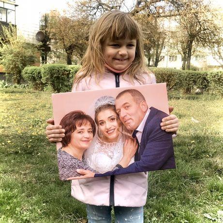 Семейный портрет по фотографии.Портрет на холсте. Печать на холсте
