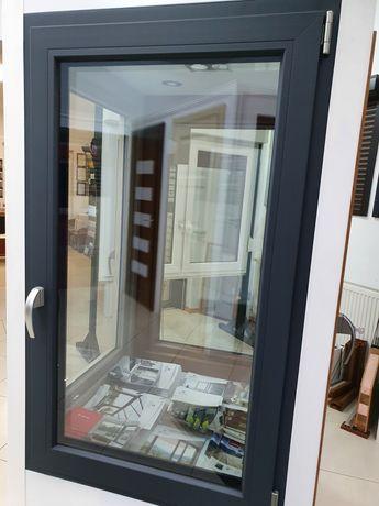 Okno Veka 82 3 szyby antracyt 86/143 cm