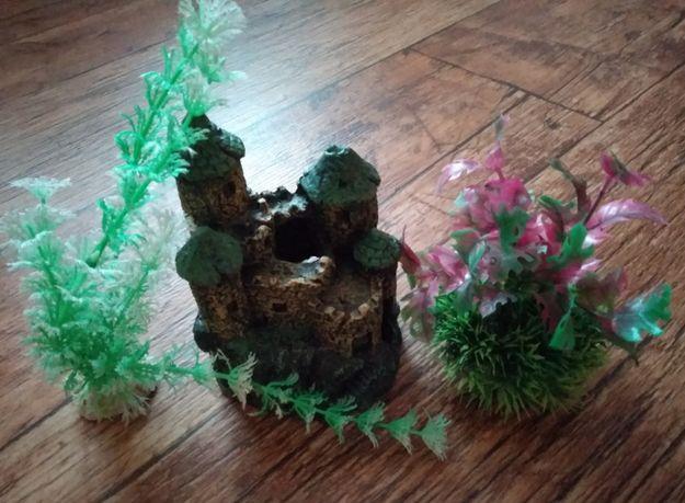 Zamek, rośliny - ozdoby do akwarium