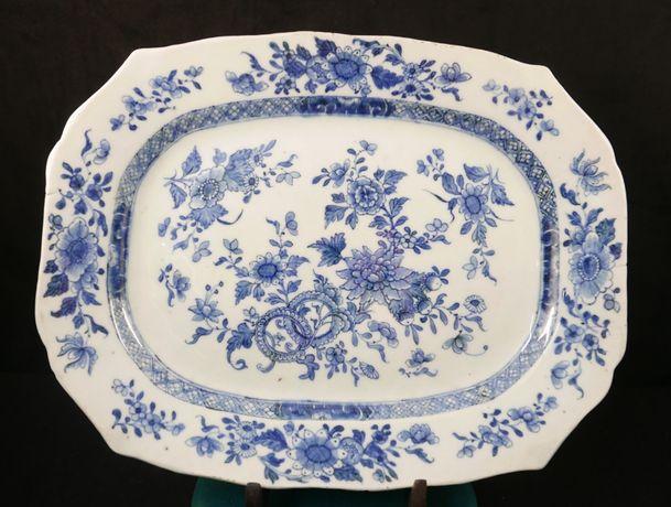 Travessa Companhia Indias octogonal decoração azul com flores