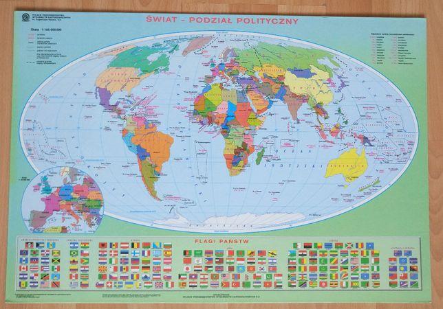 Podkładka na biurko - mapa świata/uklad okresowy