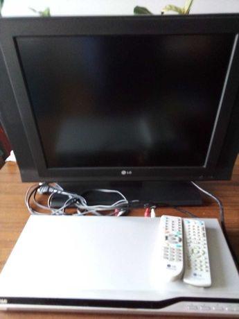 Płaski telewizor 20 cali  LCD marki LG plus odtwarzacz DVD marki LG