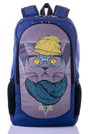Рюкзак школьный с принтом кот в очках. Рюкзак для школы.