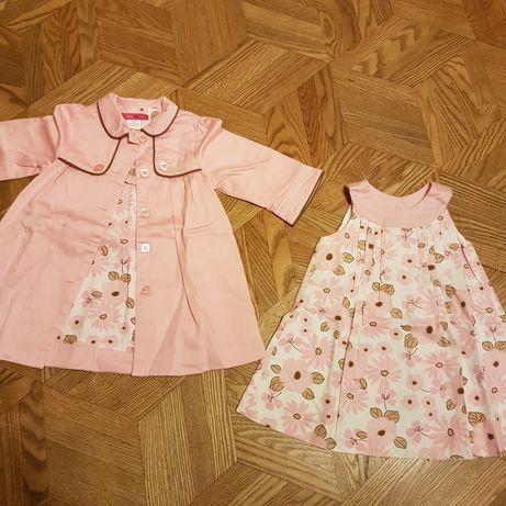 Przepiękny płaszczyk i sukienka dla 1-2 letniej dziewczynki
