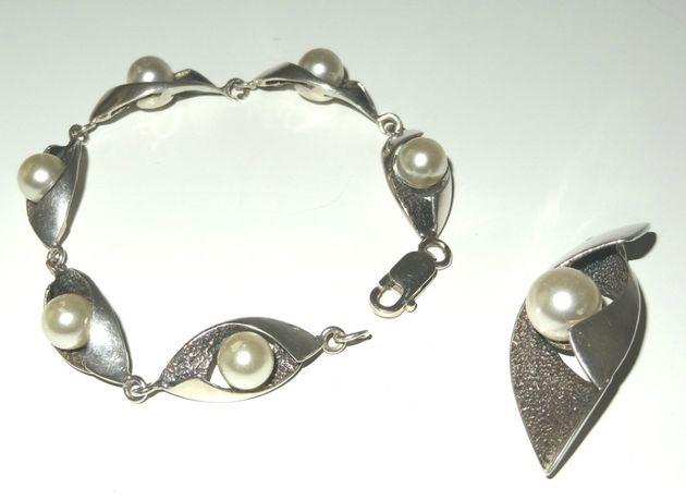 Komplet srebro 925 bransoletka +zawieszka z perełkami