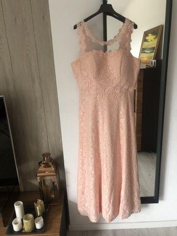 Sukienka koronka dluga maxi pudrowy roz xl