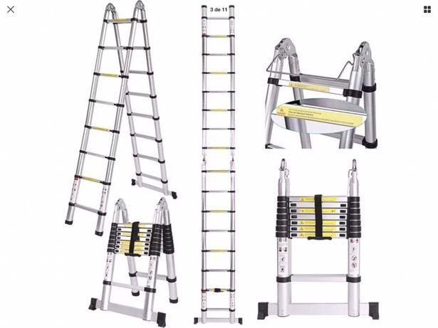 Escada Telescópica de 5 metros, faz escadote, Nova!