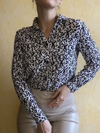 Блуза рубашка в сердечки