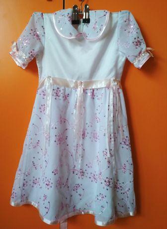 Красивое бело-розовое платье