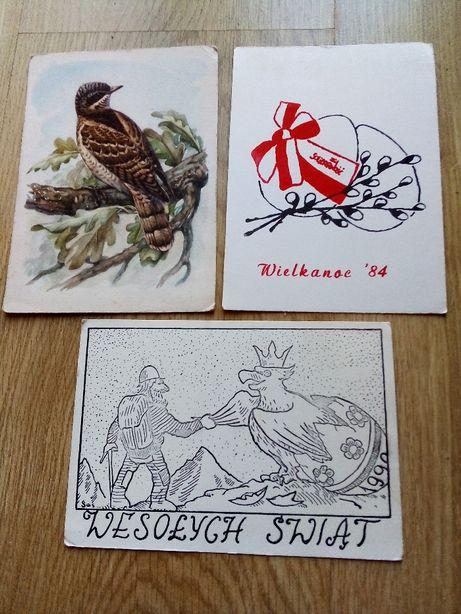 stare pocztówki Solidarność PRL Tatry świąteczne ptaki 3 sztuki