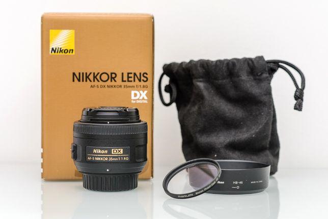 NIKKOR AF-S DX 35mm f/1.8G + filtr UV Marumi-pełny zestaw/świetny stan