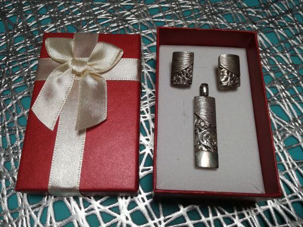 Komplet srebro: kolczyki + zawieszka srebrne