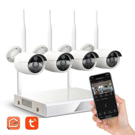 Kit Gravador + 4 câmaras NVR*APP SMART LIFE* FullHD* sem fios* WiFi
