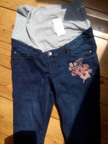 Spodnie jeans 38/40 ciążowe z haftem rurki z biobawełną