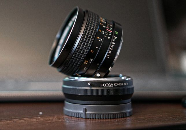 KONICA HEXANON AR 50mm f 1.7 + Adapter Sony NEX (E) / Konica AR FOTGA