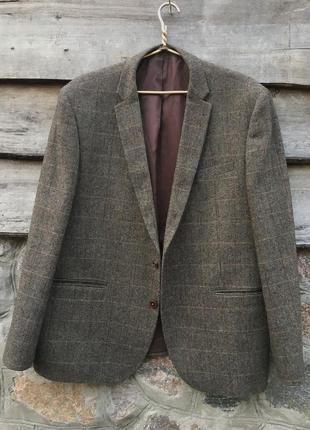 Мужской стильный пиджак с заплатками большого размера 52-54
