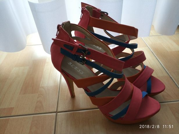 R. 41 sandały kolorowe 26cm wkładka szpilki obcas 8cm