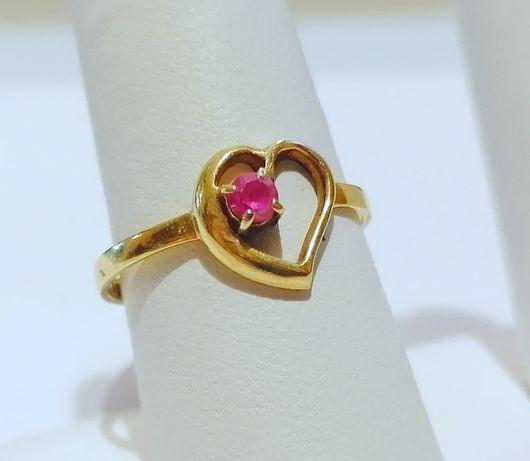 (SŁ) Złoty pierścionek próby 585 waga 1,57g rozmiar 14