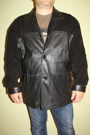 Демисезонная комбинированная кожаная куртка на крупного мужчину