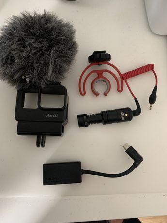 Adapter mikrofonu gopro + rode videomicro + case ulanzi