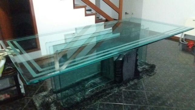 Jogo completo de mesa e cadeiras para sala mármore e vidro