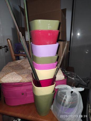 Doniczki plastikowe na storczyki dziewięć sztuk doniczka osłonka