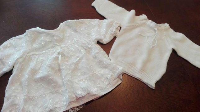 Sukienka sweterek i czapka do chrztu