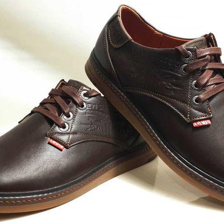 Мужская обувь. Кожаные мужские, коричневые туфли Levis model LS-Plus.