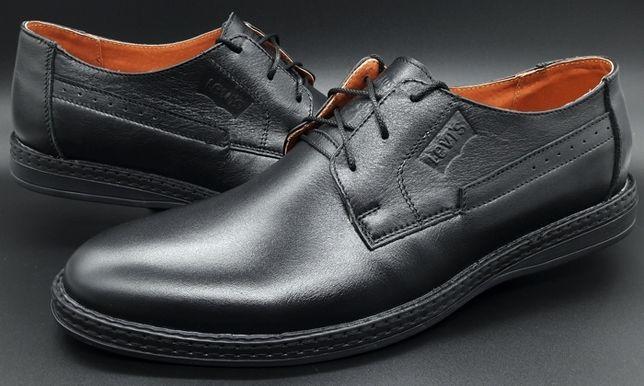 Туфли классические из натуральной кожи, черные Levis 40-45 р