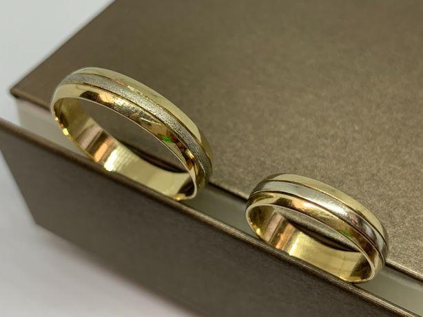 Komplet złotych obrączek ślubnych 585 R-31/R-15