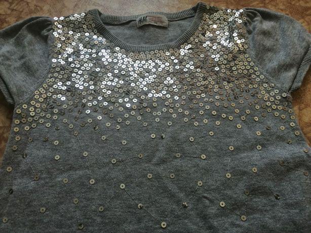 Туника платье Теплое на девочку 116 122 см 5 6 лет с пайетками блестки