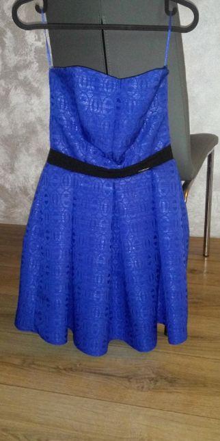 Sukienka chabrowa, niebieska