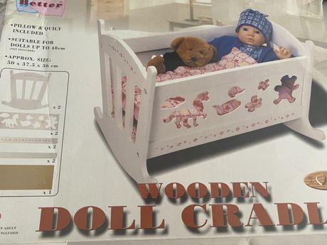 Drewniana kolyska dla lalki nowa