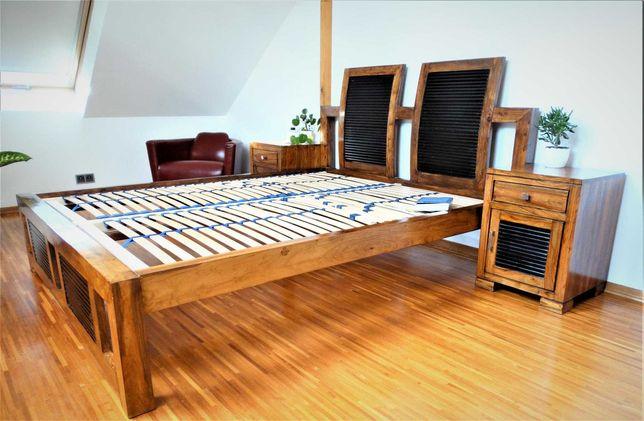 Indyjskie łóżko kolonialne 160x200 & szafki nocne (mango) - Belbazaar