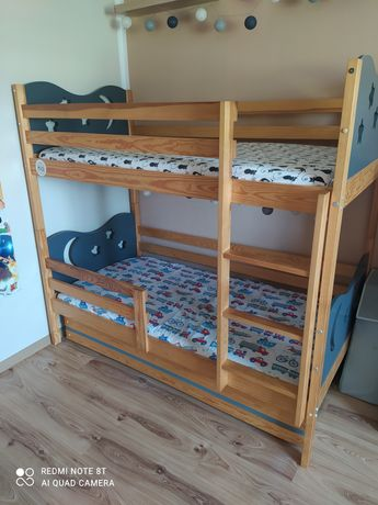 Łóżko piętrowe sosna-szary