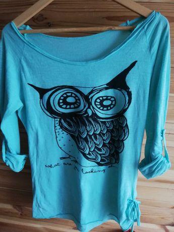 Miętowa bluzeczka z sową M