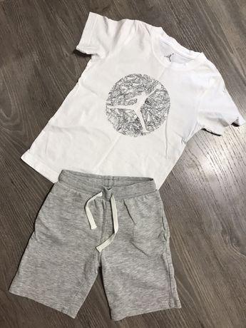 Набор футболка белая jordan шорты серые спортивные h&m крутые модные