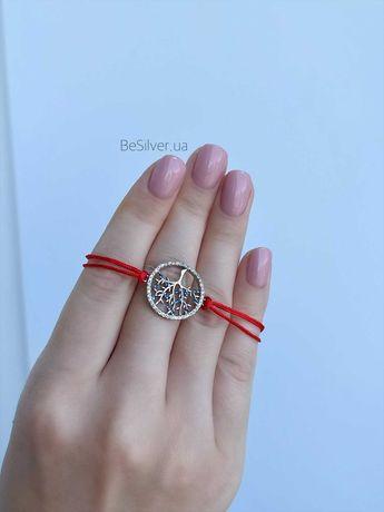 Червона нитка з срібним замком (Прикраси Срібло Подарунок)