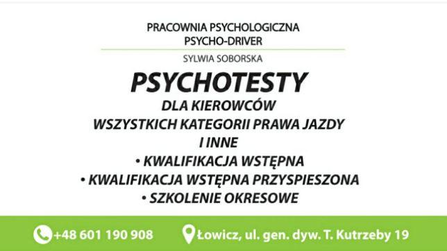 Psychotesty, szkolenie okresowe, przewóz osób i rzeczy, kurs ADR